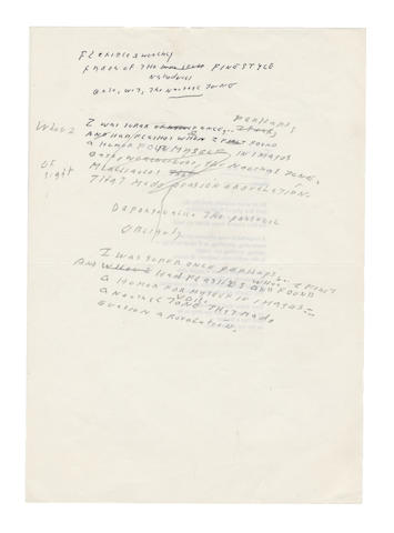 LOWELL, ROBERT (1917-1977, American Poet) TWO AUTOGRAPH DRAFTS FOR AN UNTITLED FIVE-LINE POEM
