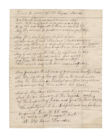 McGONAGALL, WILLIAM TOPAZ (1825-1902, Scottish poet)