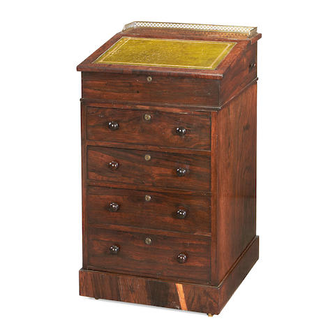 An early 19th Century rosewood davenport desk