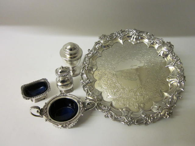 A Victorian silver salver,  by Edward, John and William Barnard, London 1849,  (5)