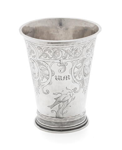 A 17th century Dutch silver beaker by Jans Scholte (II) Sneek, date letter S, possibly 1669
