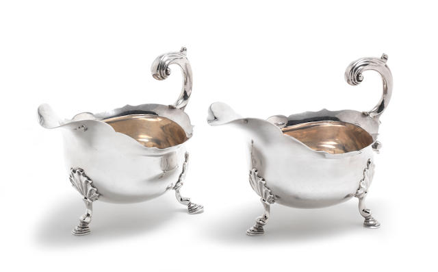 A pair of George II silver sauceboats by Samuel Meriton(I), London 1756  (2)