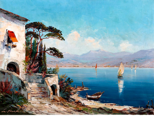 Italian School, 20th Century Italian lakeside scene with villa and boats