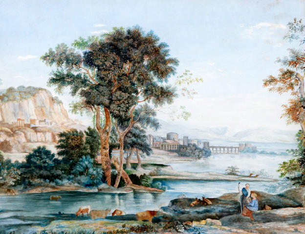 Circle of George Barret Jnr. (British, 1767-1842) Classical landscape with figures seated by a river, a town beyond