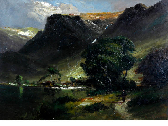 Frank Thomas Carter (British, 1853-1934) Lake District landscape with traveller on a path by the lakeside