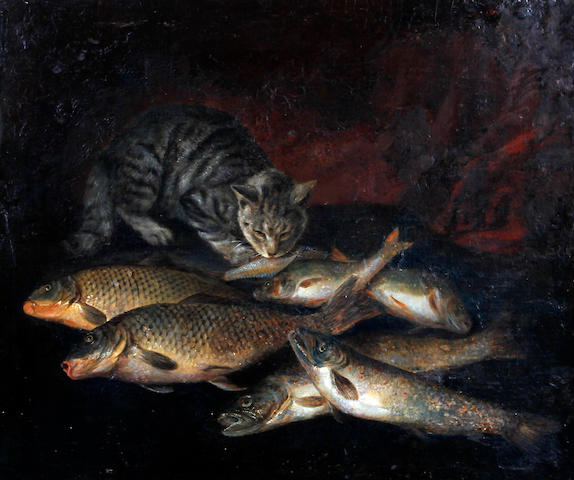 British School, (circa 1860) Still life of fish and cat