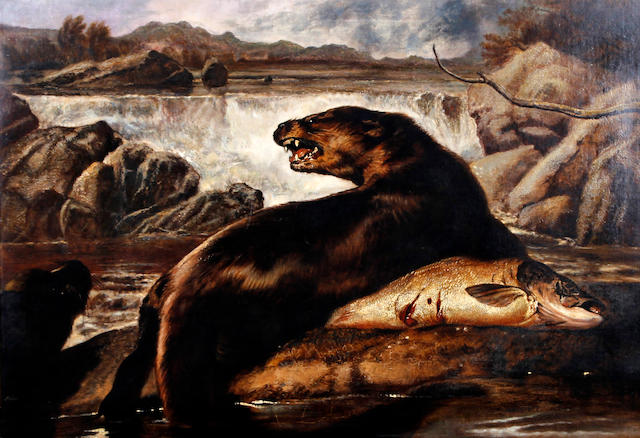 Robert Cleminson (British, active 1865-1868) Otters and fish by the riverside