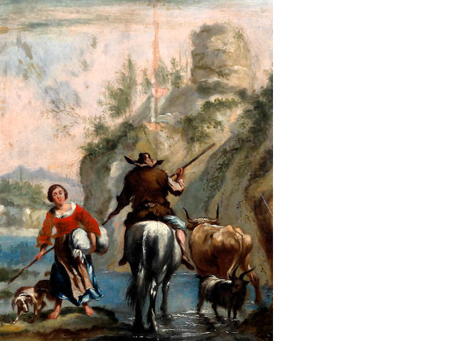 Manner of Nicolaes Berchem Young maid with dog, and traveller on horseback, cattle and goat crossing a stream