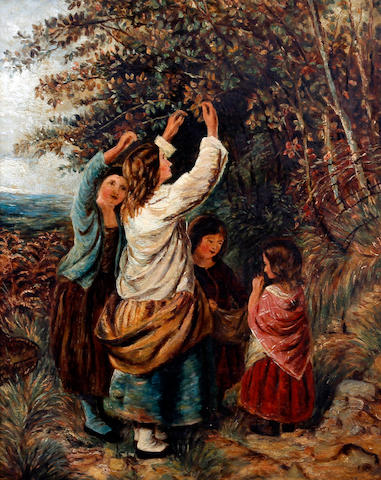 Circle of William Bromley (British, active 1835-1888) Young girls picking berries