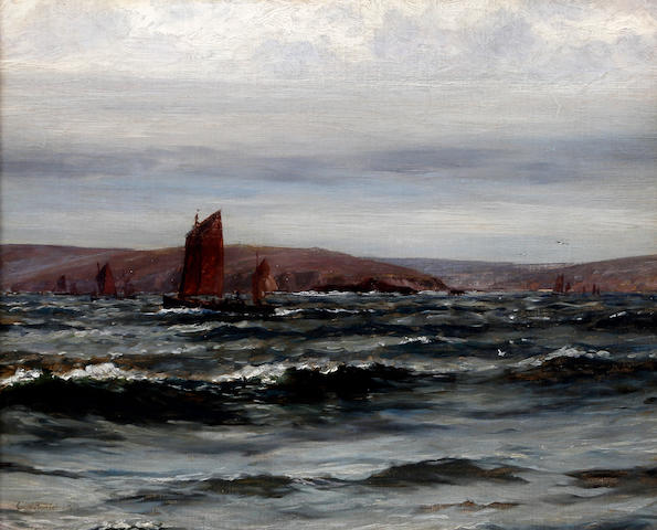 Colin Hunter, ARA RI RSW RE (British, 1841-1904) 'Early Morning. Fishing fleet leaving port'