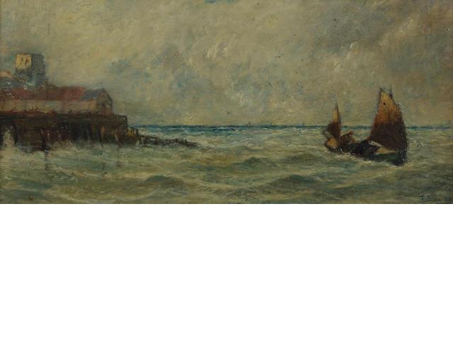 Circle of Thomas Bush Hardy (British, 1842-1897) Shipping by a port