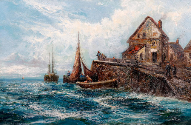 William Langley (British, 1852-1922) Fishing boats before cottages on the coast