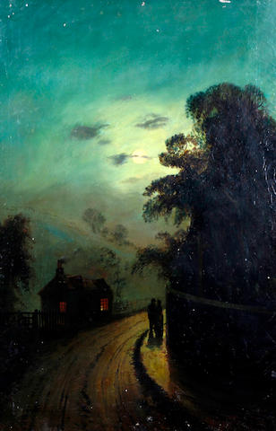Circle of James Walter Gozzard (British, 1888-1950) 'Lane near Fifield, Oxon', figures on a lane by a cottage at evening
