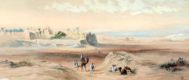Follower of Frederick Goodall, RA (British, 1822-1904) Desert scene with figures and camels before a ruined town