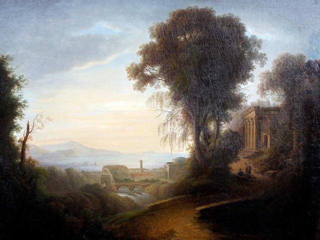 Follower of Jacob Philippe Hackert (Prenzlau 1737-1807 San Pietro di Careggi) Arcadian landscape with figures before
