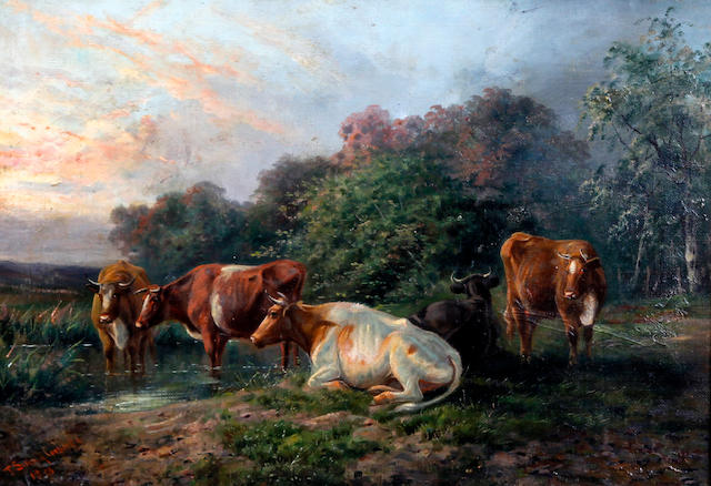 Follower of Thomas Sidney Cooper, RA (British, 1803-1902) Cattle watering by a stream