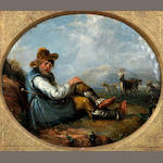 English School, (circa 1820) Sleeping goatherder in the Roman campagna