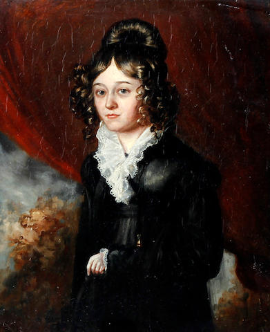 Circle of Thomas Phillips (Dudley 1770-1845 London) Portrait of a lady wearing a black dress with a white lace collar, and her hair in ringlets
