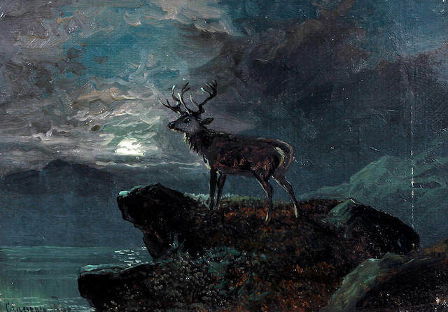 Clarence Henry Roe (British, 1850-1909) Stag on a rocky outcrop by moonlight