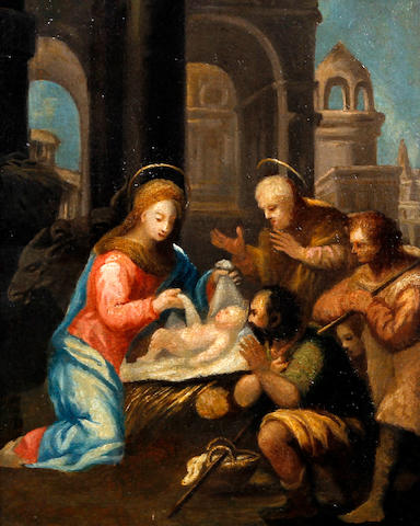 English School, (early 19th century) In the manner of Francesco Solimena Adoration of the shepherds