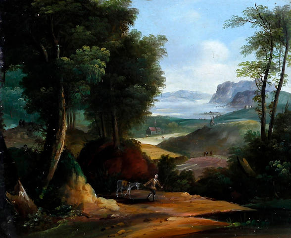 Flemish School, (early 19th century) Traveller and donkey in a landscape