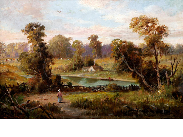 Follower of Henry John Yeend King (British, 1855-1924) Country river landscape with maid on a path before