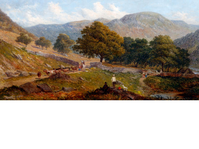 Sebastopol Samuel Holland (British, active 1880-1911) Hillside landscape with travellers, and cattle on a pathway
