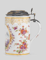 A Meissen silver-gilt-mounted cylindrical tankard, circa 1730