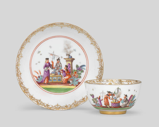 A Meissen teabowl and saucer, circa 1735