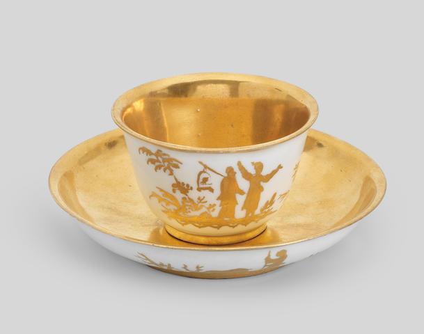 A rare Meissen teabowl and saucer, circa 1720