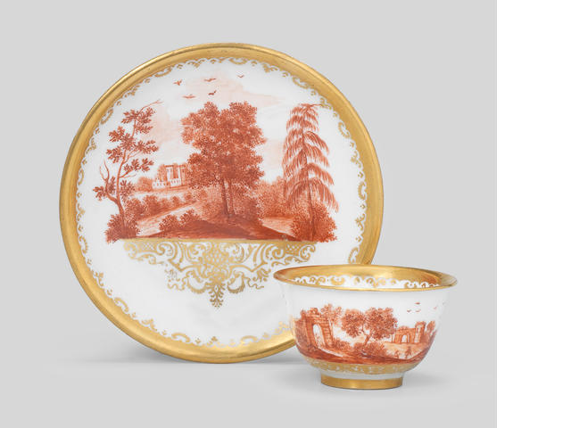 A Böttger porcelain Augsburg decorated teabowl and saucer, circa 1725