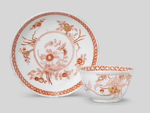A very rare Meissen teabowl and saucer, circa 1735-40