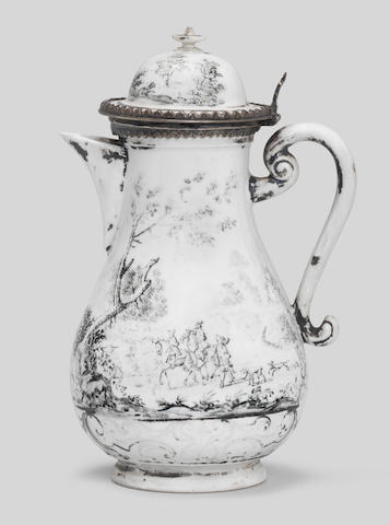 A Meissen Hausmaler silver-mounted coffee pot and cover, circa 1730