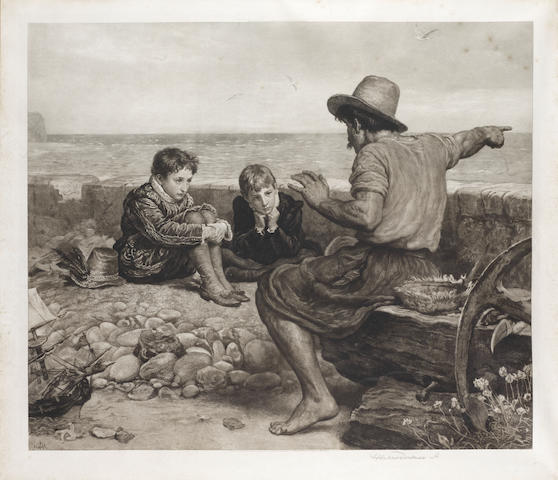 Herbert Thomas Dicksee, R.E. (British, 1862-1942) The Boyhood of Raleigh  Etching, 1901, after John Everett Millais, on vellum, signed in pencil, from an edition of 400, published by the Fine Art Society, 590 x 700mm (23 1/4 x 27 1/2in)(PL)
