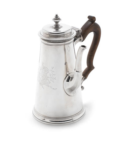A George II silver side-handled coffee pot by Paul Crespin, London 1736