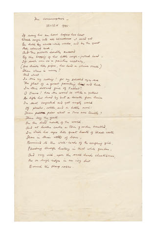 PEAKE, MERVYN (1911-1968) AUTOGRAPH MANUSCRIPT OF THE FIRST PART OF HIS POEM 'THE CONSUMPTIVE: BELSEN 1945', 1945