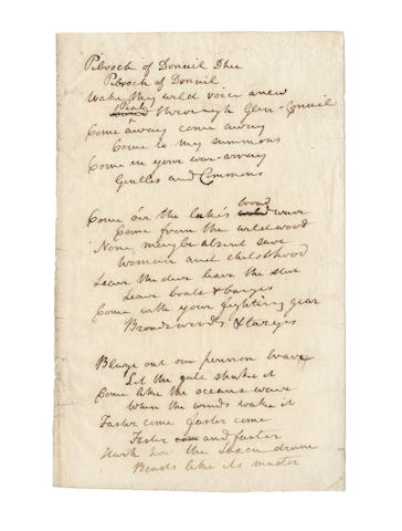 SCOTT, WALTER (1771-1832, Scottish poet and novelist) AUTOGRAPH REVISED MANUSCRIPT DRAFT OF HIS CELEBRATED SONG 'THE PIBROCH OF DONUIL DHU', 1816