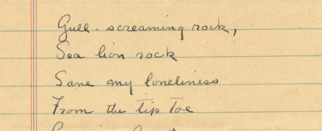 STEINBECK, JOHN (1902-1968, American writer) AUTOGRAPH MANUSCRIPT OF A POEM BEGINNING 'GULL-SCREAMING ROCK...', [?1955]