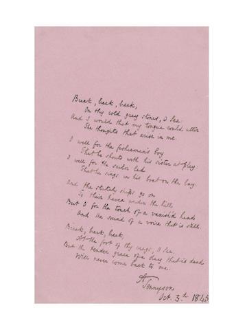 TENNYSON, ALFRED (1809-1892) AUTOGRAPH MANUSCRIPT OF HIS CELEBRATED POEM 'BREAK, BREAK, BREAK...' signed, 1845