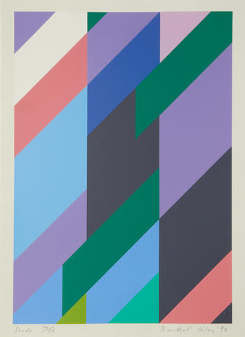 Bridget Riley (British, born 1931) Shade screenprint in colours, 1992, signed, dated, titled an numbered 74/75 in pencil, printed by Advanced Graphics, London, 485 x 342mm (19 1/4 x 13 1/2in)(I)