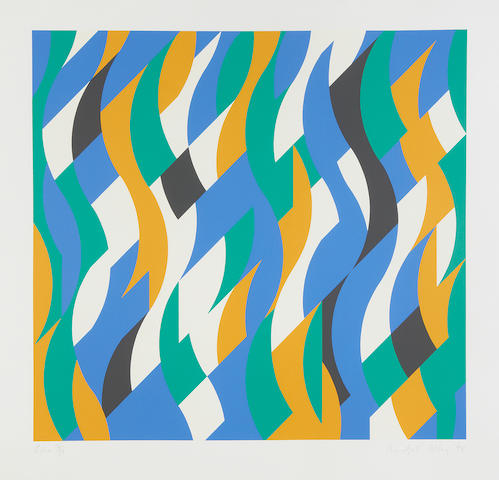 Bridget Riley (British, born 1931) Echo screenprint in colours, 1998, signed, dated, titled and numbered 16/75 in pencil, printed by Sally Gimson Artizan Editions, Hove, 530 x 568mm (21 x 22 1/4in)(I)