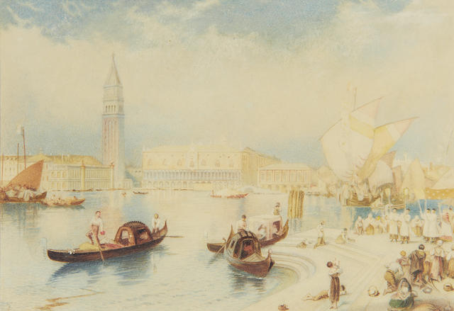 Myles Birket Foster, RWS (British, 1825-1899) View of the Doge's Palace, Venice