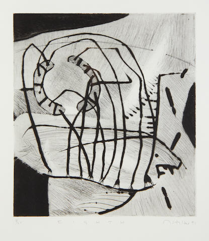 Matthew Hilton (British, 1948) Eighth drypoint, 1991, signed, dated, titled and numbered 3/25 in pencil, 268 x 238mm (10 1/2 x 9 3/4in)(PL)