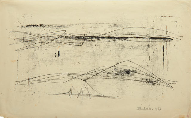 John Wells (British, 1907-2000) Untitled (Cornish Landscape) monotype, 1957, signed and dated, 205 x 330mm (8 x 13in)(SH)