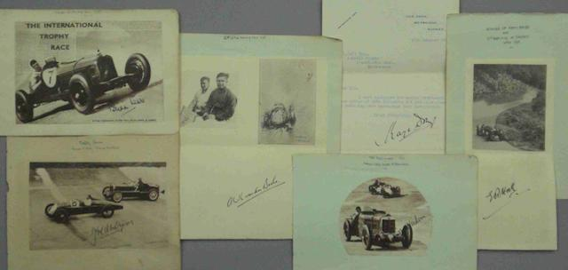 A lot of pre war racing drivers' signatures,