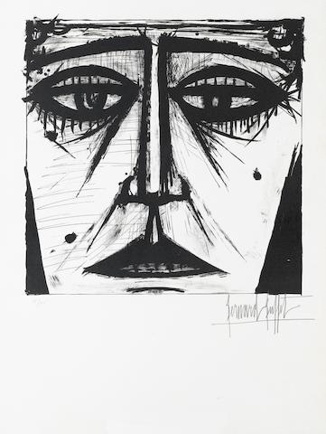 Bernard Buffet (French, 1928-1999) Visage  Lithograph, 1958, on Arches, the full sheet, signed and numbered 35/105 in pencil; 690 x 520mm (27 1/4 x 20 1/2in)(SH) (unframed) £300-400
