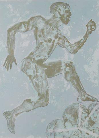 Dame Elisabeth Frink R.A. (British, 1930-1993) Running Man  Screenprint, 1988, printed in colours, on Lana Aquarelle paper, signed and numbered 35/70 in pencil, printed and published by Chilford Hall Press, 760 x 540mm (29 3/4 x 21 1/4in)(I) £800-1,200