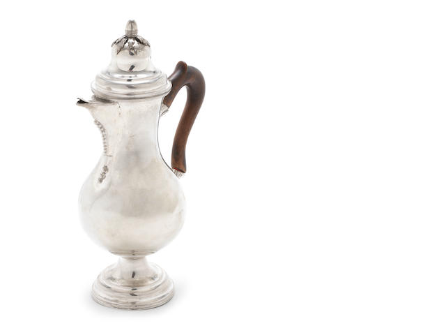 A late 18th early/19th century Continental silver coffee jug stamped with 19th century French control mark