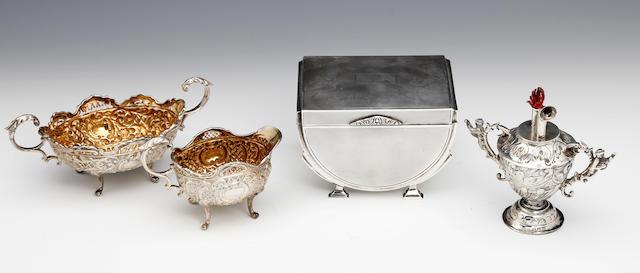 An Art Deco silver cigarette box by J Gloster Ltd, Birmingham 1913