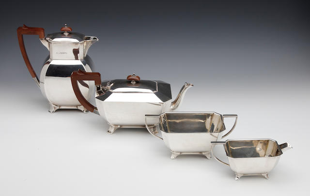 A four piece silver tea service, by James Dixon and Sons, Sheffield 1935,  (4)